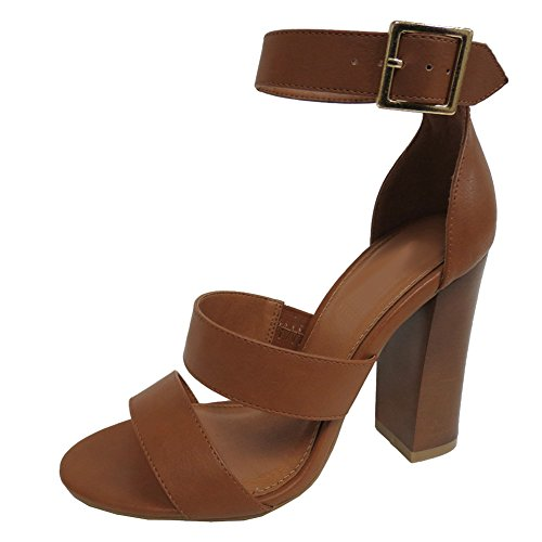 Cambridge Select Women's Open Toe Thick Triple Strappy Buckled Chunky Block High Heel Sandal (6 B(M) US, Tan) ()