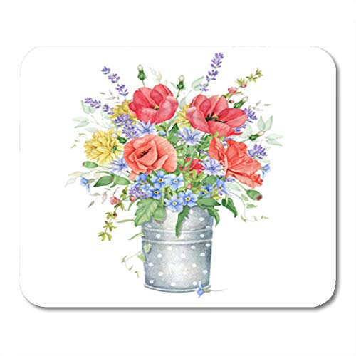 """Semtomn Gaming Mouse Pad Pink Birthday Watercolor Floral Bouquet Meadow Flowers Blue Blossom 9.5""""x 7.9"""" Decor Office Nonslip Rubber Backing Mousepad Mouse Mat"""