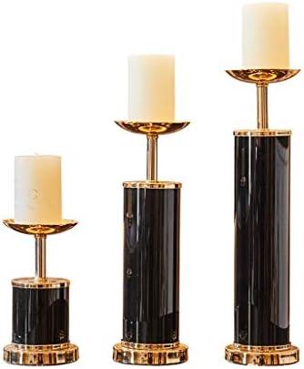 ブラックミニマセラミック燭台キャンドルライトディナーの小道具のキャンドルホルダーリビングルーム表レトロホームの柱ホルダーデコレーションウェディングレストランテーブルデコレーション (Size : Set)