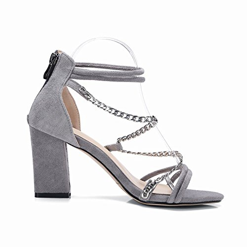 Carolbar Womens Ankle Strap Zip Chains Sexy Open Toe Sandals Grey CpmuStybE