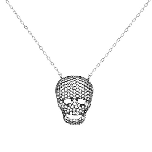 Cubic Skull Pendant - EVER FAITH 925 Sterling Silver Black-Tone CZ Halloween Skull Skeleton Chain Pendant Necklace Clear