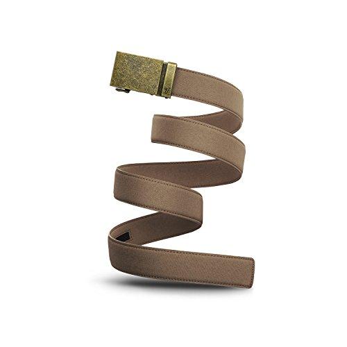 (Mission Belt Men's Ratchet Belt - 40mm Bronze Buckle/Desert Tan Canvas Strap, Large (Up to 38