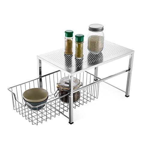 Bextsware Cabinet Basket Organizer with Wire Grid Sliding Drawer, Multi-Function Stackable Mesh Storage Organizer for Kitchen Counter, Desktop, Under Sink(Silver)