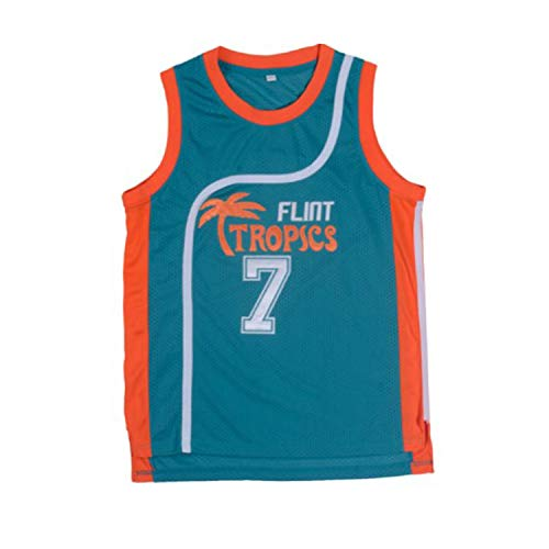 oldtimetown Coffee Black 7 'Flint Tropics' Basketball Jersey S-XXXL Green, 90S Hip Hop Clothing, Stitched Letters and Numbers