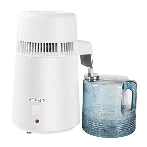 ROVSUN Countertop Water Distiller Machine All Stainless Steel Interior with 4L BPA-Free Container, Fully Upgraded Home Distilled Water Purifier Filter,750W Pure Water Maker,1L/h 5 Gifts FDA&CE List by ROVSUN
