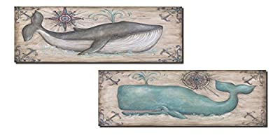 Gango Home Décor Cute, Retro Grey and Teal Whale Prints; Nautical Decor