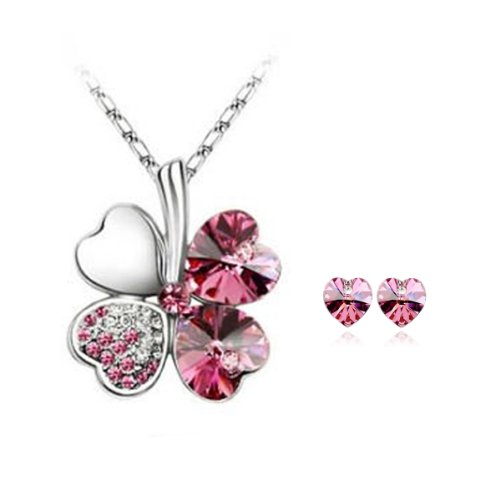 - Lucky Sweethearts Gold Plated Swarovski Elements Crystal Heart Shaped Four Leaf Clover Pendant Necklace and Earrings Jewelry Set (Rose Red)