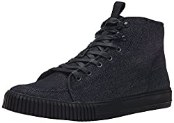 CK Jeans Men's Jenson Denim Suede Fashion Sneaker, Midnight Black, 11 M US