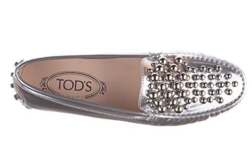 Tod's mocassini donna in pelle originale gommini bolle argento