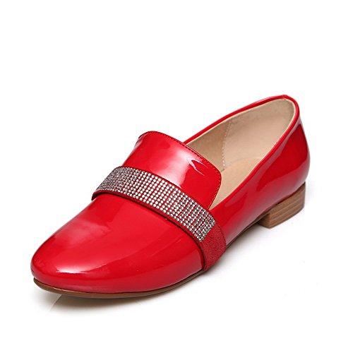 AllhqFashion Mujeres Sólido Mini Tacón Puntera Redonda Cerrada De salón con Diamante Rojo