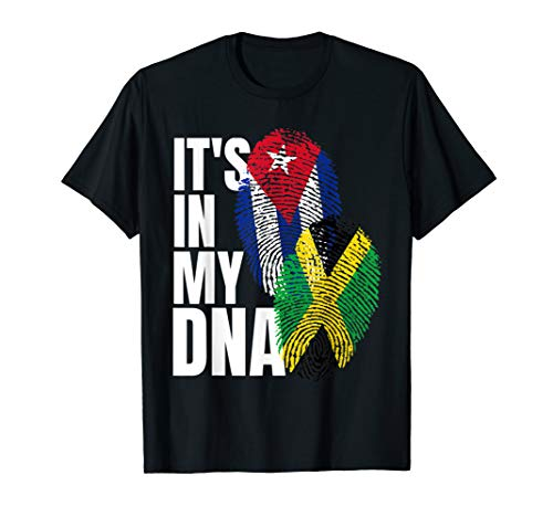 Jamaican And Cuban Mix DNA Heritage Flag Gift T-Shirt