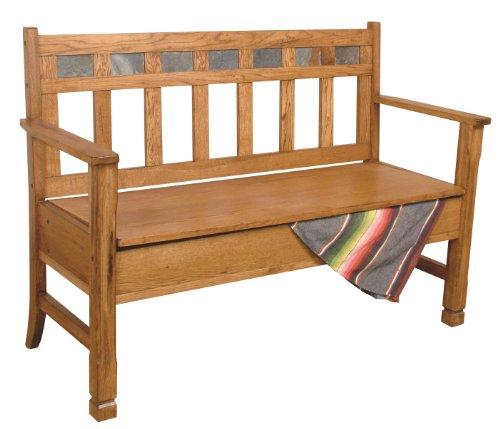 - Sunny Designs 1594RO Sedona Deacon's Bench with Storage, Rustic Oak Finish