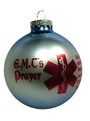 OnHoliday Glass E.M.T Prayer Bulb Paramedic EMS EMT Ornament