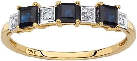 Solid 10k Yellow Gold Princess-Cut Genuine Blue Sapphire Diamond Accent Ring