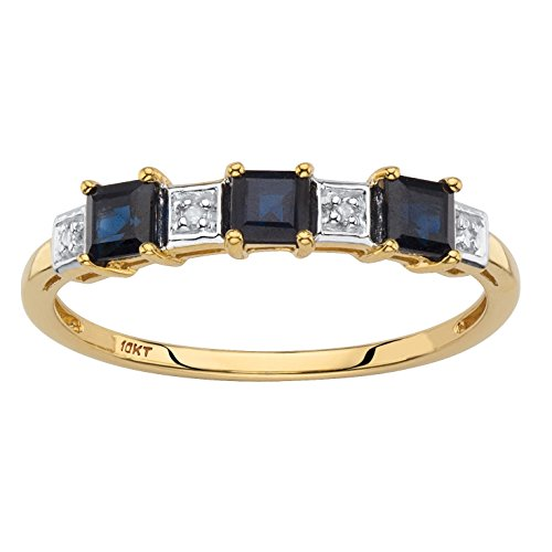 Solid 10k Yellow Gold Princess-Cut Genuine Blue Sapphire Diamond Accent Ring Size 9