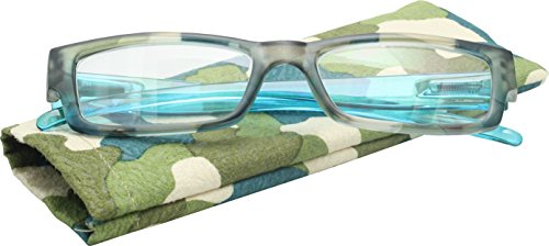 True Gear iShield Block Blue Light Computer Anti Reflective and UV Block Camo Green Reading Glasses +2.00 with Stylus Pen - Reflective Anti Online Glasses