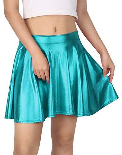HDE Plus Size Shiny Liquid Skater Skirt Flared Metallic Wet Look Pleated Skirt (2X, Teal) ()