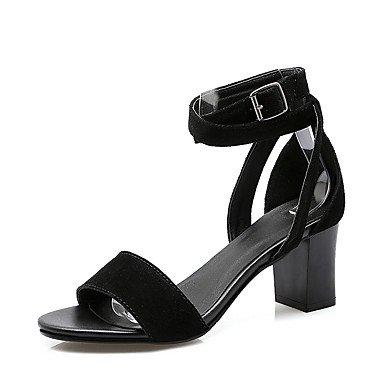 LvYuan Mujer-Tacón Robusto-Otro D'Orsay y Dos Piezas-Sandalias-Oficina y Trabajo Vestido Fiesta y Noche-Cuero-Negro Black