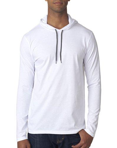 - Anvil Men's Lightweight Long Sleeve Hooded Tee (White) (Medium)
