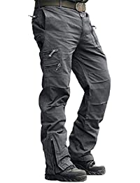 Men's Cotton Multi-Pockets Work Pants Tactical Outdoor Military Army Cargo Pants (No Belt)