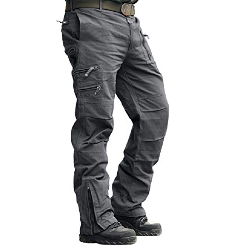 - CRYSULLY Men's Casual Trousers Cotton Wild Cargo Pant Combat Wear Work Pants with Zipper Assault Pants Grey
