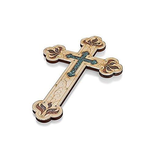 Tierra Santa Ltd. Wall Wood Cross Vintage Jerusalem Gemstones Antique Style Decor 13