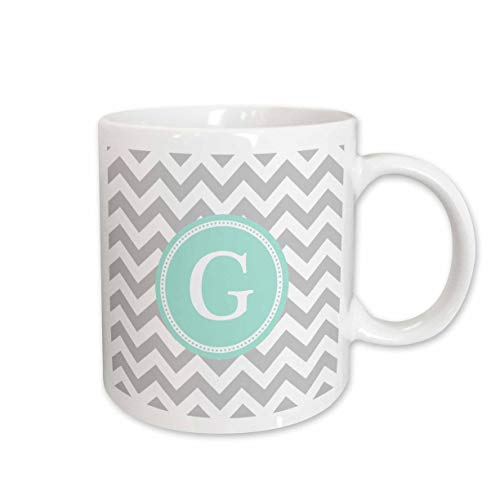 (3dRose InspirationzStore - Monograms - Letter G Grey and white Chevron with Mint monogram personal initial G - 11oz Mug (mug_316332_1))