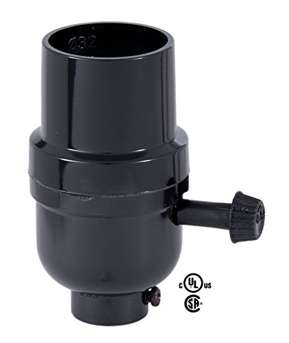 B&P Lamp Turn-Knob 3-Way Phenolic Socket, Med. Base, No UNO ()