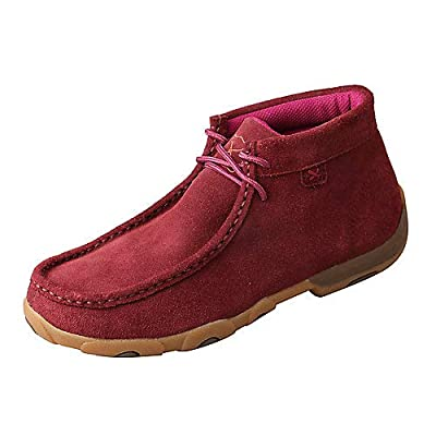Twisted X Women's D Toe Driving Mocs Casual Lace Accent Slip-On Shoes - Wine