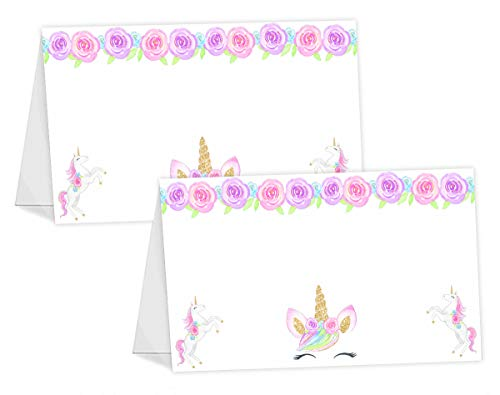 (POP parties Magical Unicorn Table Tents - 12 Unicorn Buffet Cards - Unicorn Place Cards - Unicorn Party Decorations -Unicorn Party Supplies - Lashes )