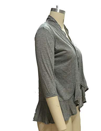 ZHENWEI Womens Open Front Cardigan Sweater 3/4 Sleeve Ruffle Cardigan Reg Plus Size