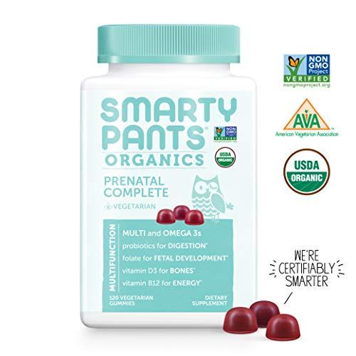 SmartyPants Organic Gluten Free, Vegetarian, Prenatal Daily Gummy Vitamins: Multivitamin, Omega-3, Probiotic, Methylfolate, Vitamin D3, Vitamin B12, Non-GMO 120 Count (30 Day Supply)