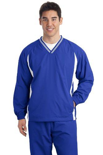 - Sport-Tek Men's Tipped V Neck Raglan Wind Shirt M True Royal/White