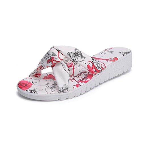 Plage Femmes Claquettes Mules Plates Sandales JITIAN Chaussures Lanières Rouge Compensés pour Tongs Nœud qSAwztI