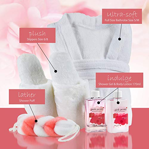 Home Spa Gift Basket Luxury Bathrobe & Slipper Spa Box for Women - Pink Peony Scent - Luxury Bath & Body Set For Women… 4