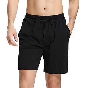 Aibrou Mens Sleep Shorts Cotton Pajama Shorts Knit Sleepwear Lounge Shorts with Pockets for Summer