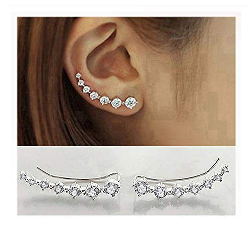 (Elensan 7 Crystals Ear Cuffs Hoop Climber S925 Sterling Silver Earrings Hypoallergenic Earring)