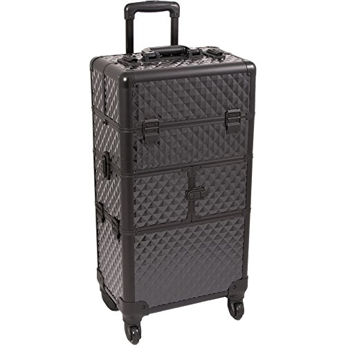 SUNRISE Makeup Case on Wheels 2 in 1 Professional Organizer I3464, 12 Trays, 4 Wheel Spinner, Adjustable Drawer Dividers, Black Diamond by SunRise