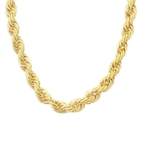 MAJU Designers 18K Gold Plated Stainless Steel Jumbo Dookie Hip Hop Rope Chain Necklace 20MM, -