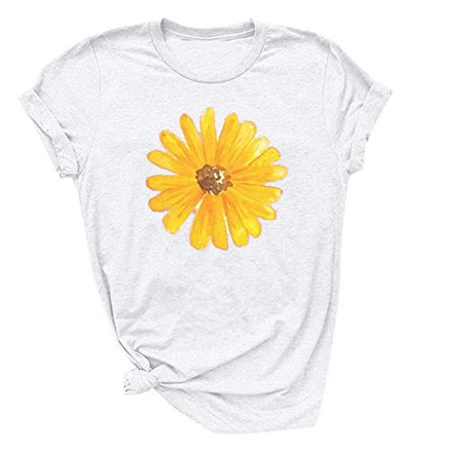 (Respctful ♫♫Sunflower Tops Clothes for Women Floral prin Graphic Print Short Sleeve Casual Tees Tops White)
