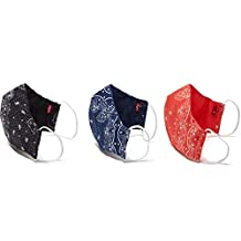 "Levi's Re-Usable Reversible Bandana Face Mask (Pack of 3), Dress Blues/Caviar/Poppy Red, Large: 6.5""L x 9""W"