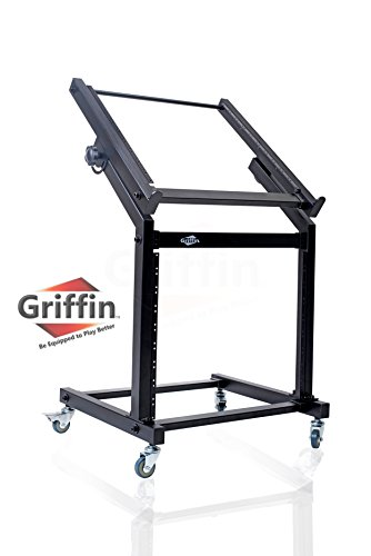 - Rack Mount Rolling Stand and Adjustable Top Mixer Platform Mount 19U by Griffin|Cart Holder for Music Studio Pro Audio Recording Cabinet|Stage Equipment DJ PA Gear Display Case for Amplifiers, Effects