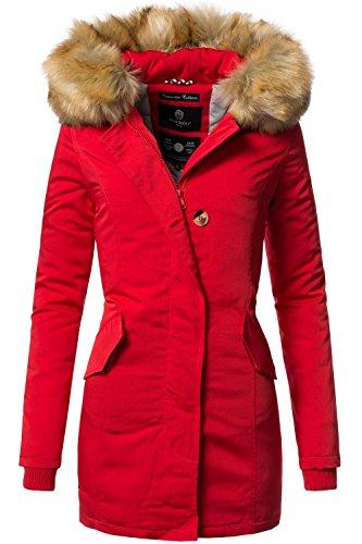 Marikoo Karmaa Abrigo de Invierno para Mujer XS-5XL 15 Colores XS-XXL Rojo