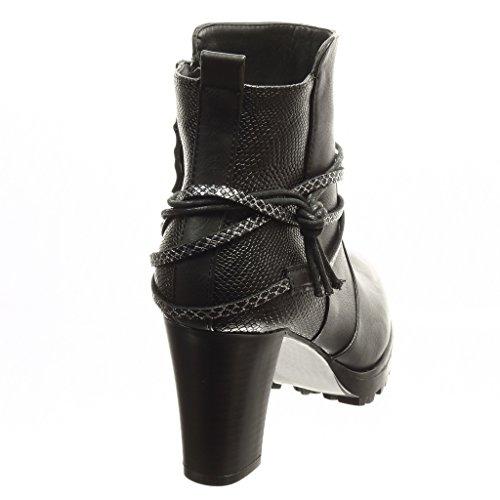 Piel alto tanga Angkorly CM Talón de Tacón Zapatillas 8 de Moda plataforma boots Botines plantilla Forrada mujer Negro de low de serpiente ancho piel zapatillas OOgxTqHw
