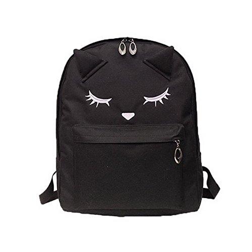 Jiaruo Cartoon Nylon Cat Laptop Bag School Backpack Girl Travel Daypack Bag (black)