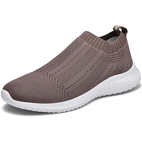 (LANCROP Women's Casual Tennis Shoes - Comfortable Knit Gym Walking Slip On Sneakers 8.5 M US, Label 39 Brown)