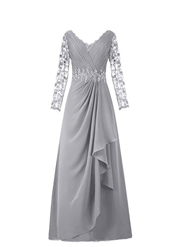Diyouth Long Asymmetric Pleats Lace Sleeves Mother of the Bride Dress Silver Size 16