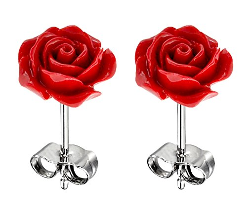 Natural stone Resin Rose Flower stud earrings - hypo allergic stainless steel posts by Shalalla London (Rose Earrings Red)