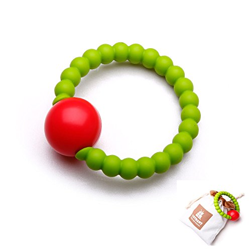Baby Teething Toys- Massaging Teether Ring for Baby, Hand Bell Infant Rattles ,Soft and Chewable Bracelet ,Baby Shower Gift Toys, Infant Registry Gift (Green) Beaded Jelly Bracelet