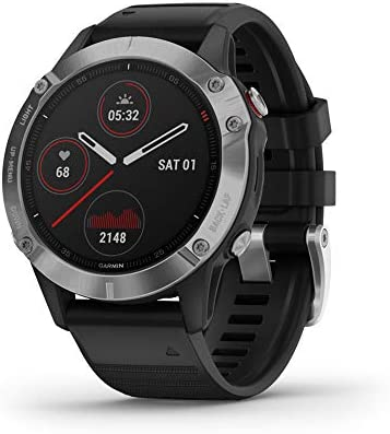 Garmin Fenix 6, reloj GPS multideporte definitivo, calor y altitud ajustados V02 Max, sensores de pulso y foco de carga de entrenamiento, plateado con banda negra